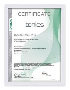 ISO 27001 Zertifikat ITONICS GmbH