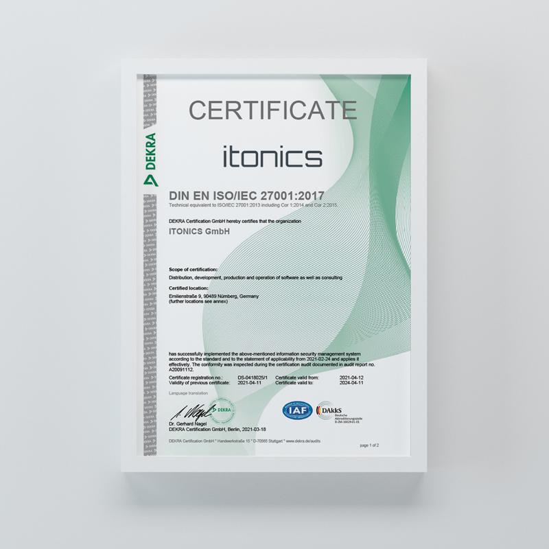 ITONICS erneut ISO 27001 zertifiziert